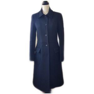 Theory Black Wool Longline Coat  - M